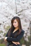Femme dans les fleurs de cerisier photos libres de droits