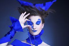Femme dans le bleu Photo libre de droits