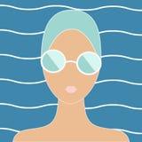 Femme dans le bonnet de bain illustration libre de droits