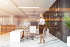 Femme dans le bureau avec des bibliothèques photo stock