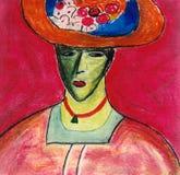 Femme dans le chapeau de fleur Images libres de droits