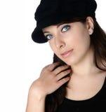 Femme dans le chapeau noir Images libres de droits
