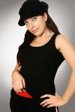 Femme dans le chapeau noir Photos stock