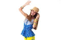 Femme dans le chapeau tenant la main  image libre de droits