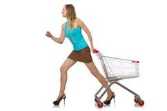 Femme dans le concept d'achats d'isolement Photographie stock libre de droits