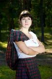 Femme dans le costume écossais photos stock