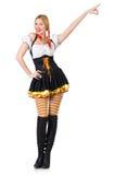 Femme dans le costume bavarois d'isolement sur le blanc Images stock