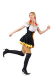 Femme dans le costume bavarois d'isolement sur le blanc Photographie stock libre de droits