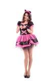 Femme dans le costume de carnaval oreilles de minou D'isolement Photographie stock