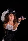 Femme dans le costume de vaudeville avec du marbre en verre Photos libres de droits