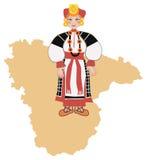 Femme dans le costume folklorique traditionnel de la région de Voronezh Image libre de droits