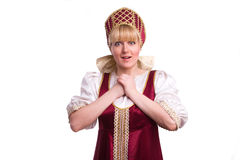 Femme dans le costume traditionnel russe images libres de droits