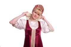 Femme dans le costume traditionnel russe photographie stock libre de droits