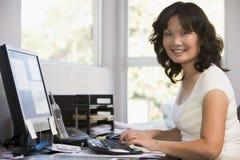 Femme dans le Home Office utilisant l'ordinateur et le sourire photos stock
