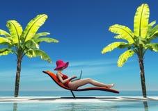 Femme dans le maillot de bain utilisant un ordinateur portable Photos libres de droits