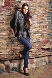 Femme dans le manteau de fourrure de luxe de renard noir Images stock