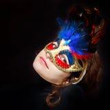 Femme dans le masque de carnaval Image libre de droits