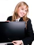 Femme dans le procès et l'ordinateur Image stock