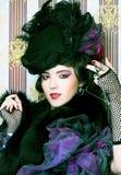 Femme dans le rétro style. Photo stock