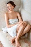 Femme dans le sauna romain Photos libres de droits