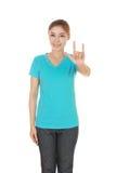 Femme dans le T-shirt avec le signe de main je t'aime Photos stock