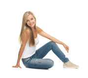 Femme dans le T-shirt blanc vide Photographie stock libre de droits