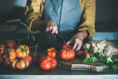 Femme dans le tablier coupant et faisant cuire la sauce tomate ou les pâtes images libres de droits