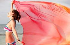 Femme dans le vent Photographie stock libre de droits