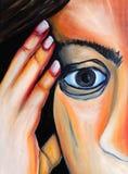 Femme dans les pensées ce qui s'est produit image libre de droits