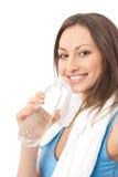Femme dans les vêtements de sport avec de l'eau photos stock