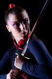 Femme dans martial japonais Image libre de droits