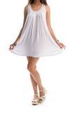 Femme dans sarafan blanc simple Image libre de droits