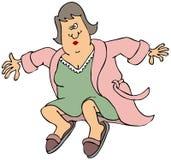 Femme dans sauter ouvert de robe longue Photo stock