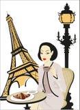 Femme dans un café à Paris illustration de vecteur
