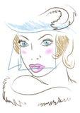 Femme dans un chapeau. Rétro-type. Image stock