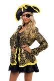 Femme dans un costume de carnaval. Forme de pirate. photo libre de droits