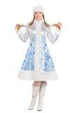 Femme dans un costume de jeune fille de neige Photographie stock