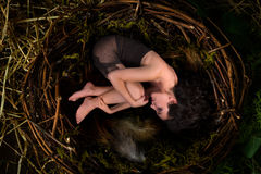 Femme dans un nid photographie stock