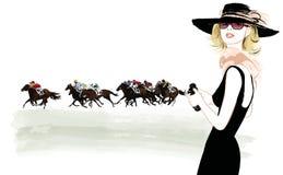 Femme dans une piste de cheval illustration de vecteur