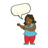 femme de bande dessinée chantant avec la bulle de la parole Image libre de droits