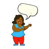 femme de bande dessinée chantant avec la bulle de la parole Photographie stock