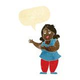 femme de bande dessinée chantant avec la bulle de la parole Image stock