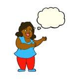 femme de bande dessinée chantant avec la bulle de pensée Images libres de droits