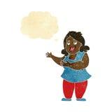 femme de bande dessinée chantant avec la bulle de pensée Photographie stock