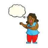 femme de bande dessinée chantant avec la bulle de pensée Photographie stock libre de droits