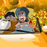 Femme de bande dessinée conduisant une voiture dans le rouge à lèvres Images stock
