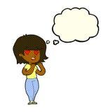 femme de bande dessinée dans l'amour avec la bulle de pensée Photos stock