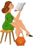 Femme de bande dessinée dans la robe verte et la lecture orange de sac Photo stock