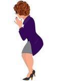 Femme de bande dessinée dans la vue pourpre de dos de manteau Photo stock