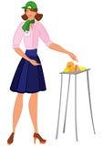 Femme de bande dessinée dans les échantillons de offre de fromage de chapeau vert Image stock